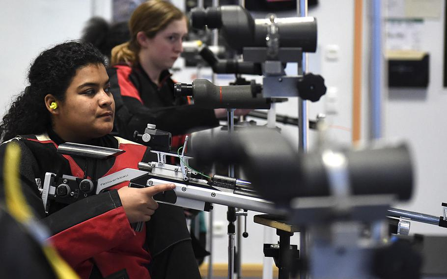 Zulimar Mercado, a junior from Vilseck, prepares to shoot downrange during a marksmanship competition held at Vilseck High School, Saturday, Dec. 14, 2019. The competition included competitors from Stuttgart, Hohenfels, Ansbach and Vilseck high schools.