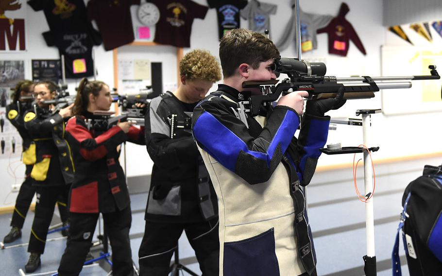 Kyle Trehern, a freshman from Ansbach, prepares to shoot downrange during a competition held at Vilseck High School, Saturday, Dec. 14, 2019. The competition included competitors from Stuttgart, Hohenfels, Ansbach and Vilseck high schools.