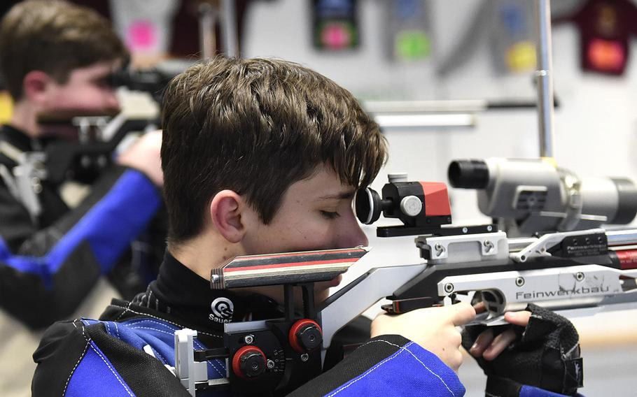 Colin Robertson, a freshman from Ansbach, sights in on his target during a marksmanship competition held at Vilseck High School, Saturday, Dec. 14, 2019. The competition included competitors from Stuttgart, Hohenfels, Ansbach and Vilseck high schools.