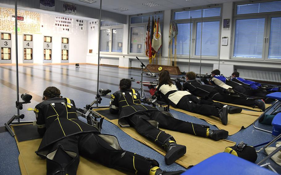 Shooters from Stuttgart, Hohenfels, Ansbach and Vilseck high schools compete in a marksmanship competition held at Vilseck High School, Saturday, Dec. 14, 2019.