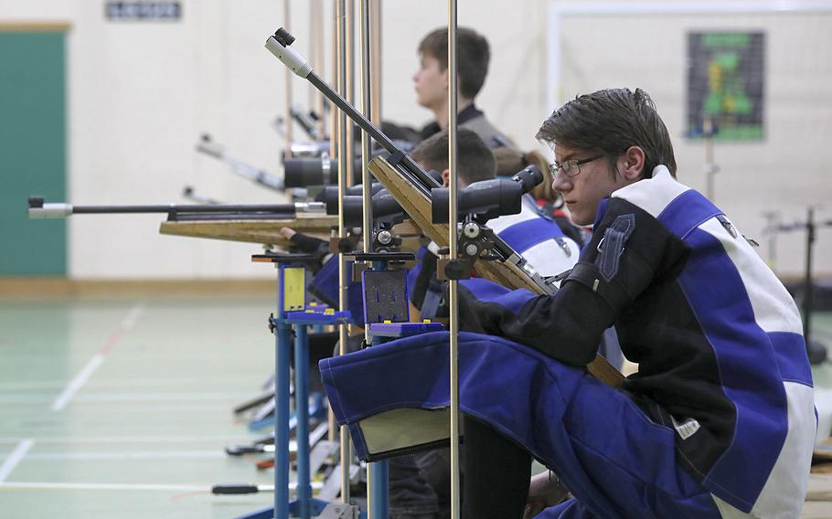 Alconbury's Tyler Robinson moves to check his accuracy after firing a shot during a marksmanship competition held at RAF Alconbury, Saturday, Dec. 14, 2019.