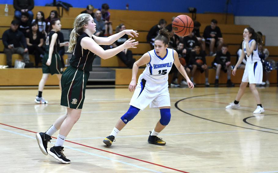 Tori Morris from AFNORTH runs the ball during Friday, January 10, 2020, game between AFNORTH and Hohenfels' girls varsity basketball teams, which was held at Hohenfels. The AFNORTH Lions came out victorious against the Hohenfels Tigers girls varsity team.