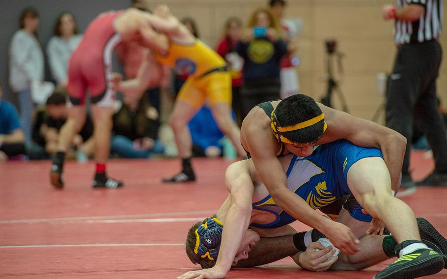 High school wrestlers from across Europe participate in a tournament at Kaiserslautern High School, Germany, Saturday, Jan. 18, 2020.