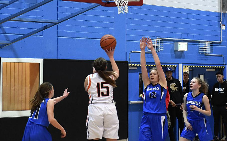 Spangdahlem Sentinel Emerson Retka prepares to shoot the ball during Saturday's girls varsity basketball game against the Hohenfels Tigers, held at Hohenfels. The Sentinels beat the Tigers 41-39.