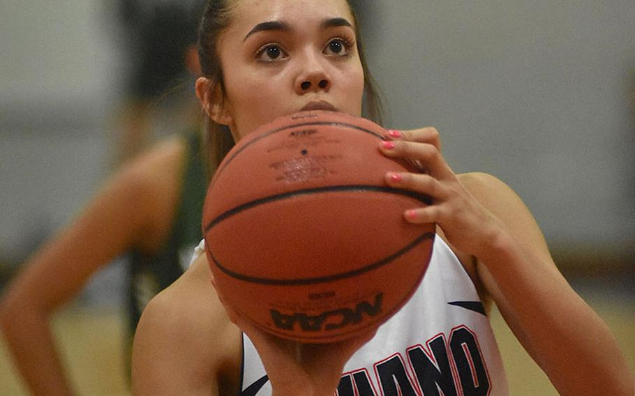 Aviano's Mikyla Harkley spent a lot of time at the free throw line Friday, Jan. 31, 2020, converting nine of 11 attempts. She finished with 19 points, 14 rebounds and seven steals in the Saints' 41-30 victory over Naples.