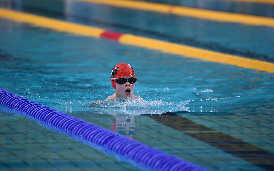 Rota swimmer Breck Lockhart competes in the Boys 8-and-under 50-meter breast stroke during the European Forces Swim League championships in Eindhoven, Netherlands, Saturday, Feb. 29, 2020.