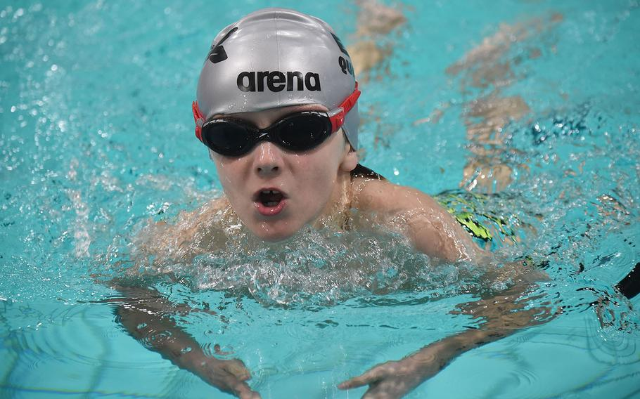 Geilienkirchen Orcas swimmer, Miguel Sanchez competed in the 8-and-under boys 50-meter breaststroke during the European Forces Swim League championships in Eindhoven, Netherlands, Saturday, Feb. 29, 2020.