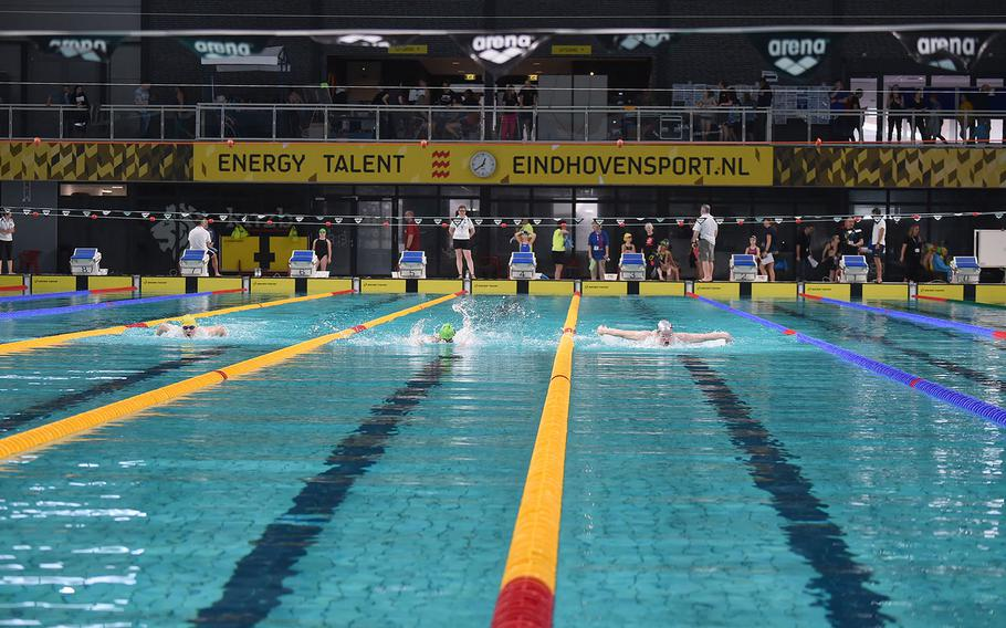 Swimmers in the Boys 17-19-year old group compete in the 100-meter butterfly during the European Forces Swim League championships in Eindhoven, Netherlands, Saturday, Feb. 29, 2020.