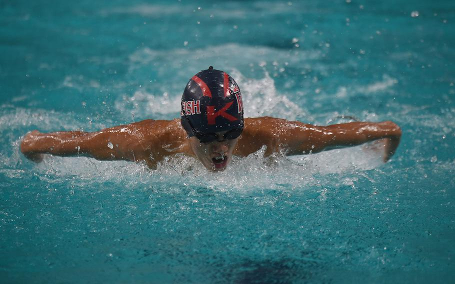Kaiserslautern swimmer Tyler Peng competes during the  Boys 15-16-year old 100-meter butterfly during the European Forces Swim League championships in Eindhoven, Netherlands, Saturday, Feb. 29, 2020.