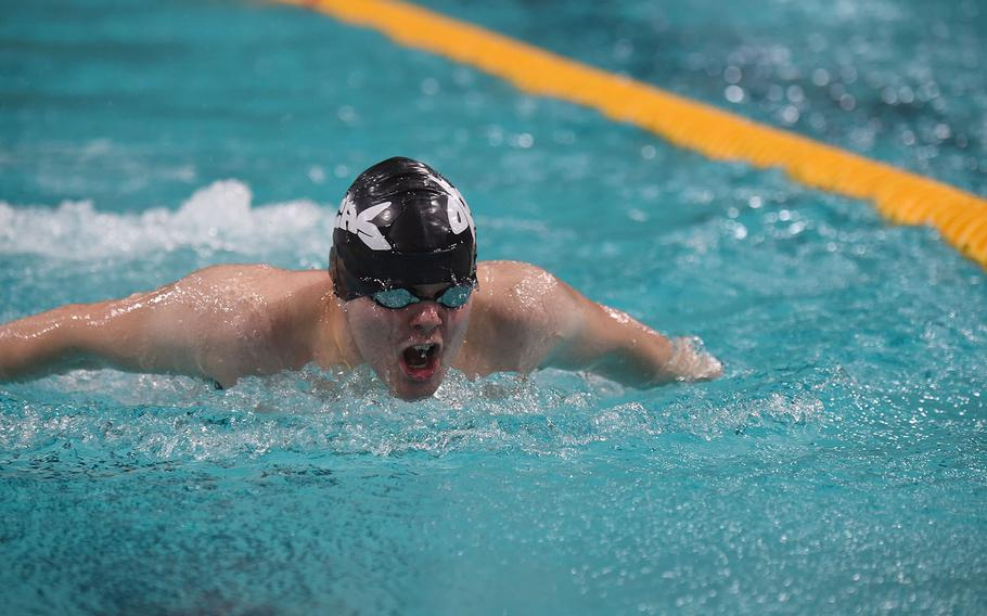 Geilienkirchen Orcas swimmer Pierre-Luc Boudrais competes during the Boys 15-16-year old 100-meter butterfly during the  European Forces Swim League championships in Eindhoven, Netherlands, Saturday, Feb. 29, 2020.