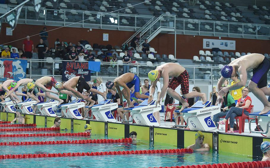 Boys prepare to swim in the Boys 15-16-year old 100-meter freestyle during the European Forces Swim League championships in Eindhoven, Netherlands, Saturday, Feb. 29, 2020.