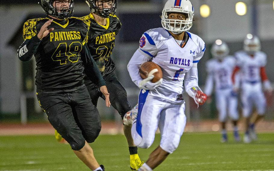 Ramstein's Dominque Arizpe breaks into the open field against Stuttgart in last season's Division I championship game in Kaiserslautern, Germany. The 2020 football season has been cancelled due to the coronavirus.