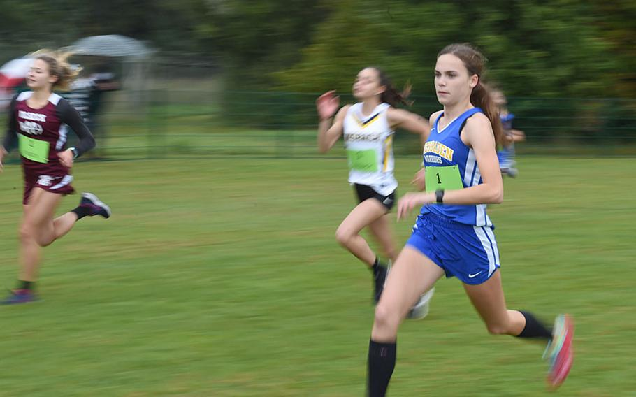 Wiesbaden's Kaitlyn Taylor finished first in the girls' race with a time of 21 minutes, 18 seconds at Vilseck, Germany, Saturday, Sept. 26, 2020.