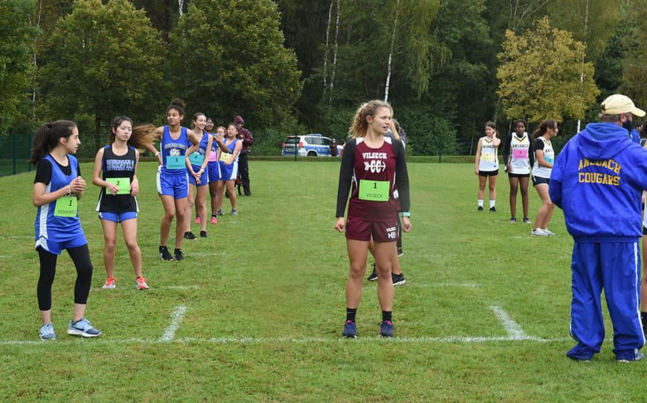 In order to promote social-distancing at Vilseck, Germany, runners were separated Saturday, Sept. 26, 2020,  into 6-foot blocks to start the race based on schools and practice times.