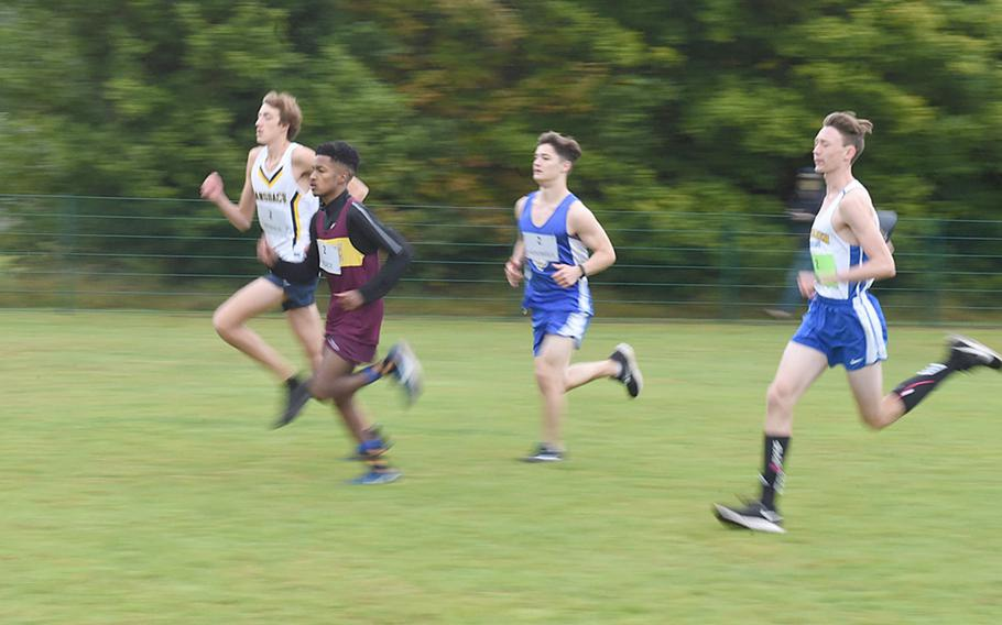 Boys from Wiesbaden, Ansbach, Hohenfels and Vilseck Schools compete in the cross country race at Vilseck, Germany, Saturday, Sept. 26, 2020.