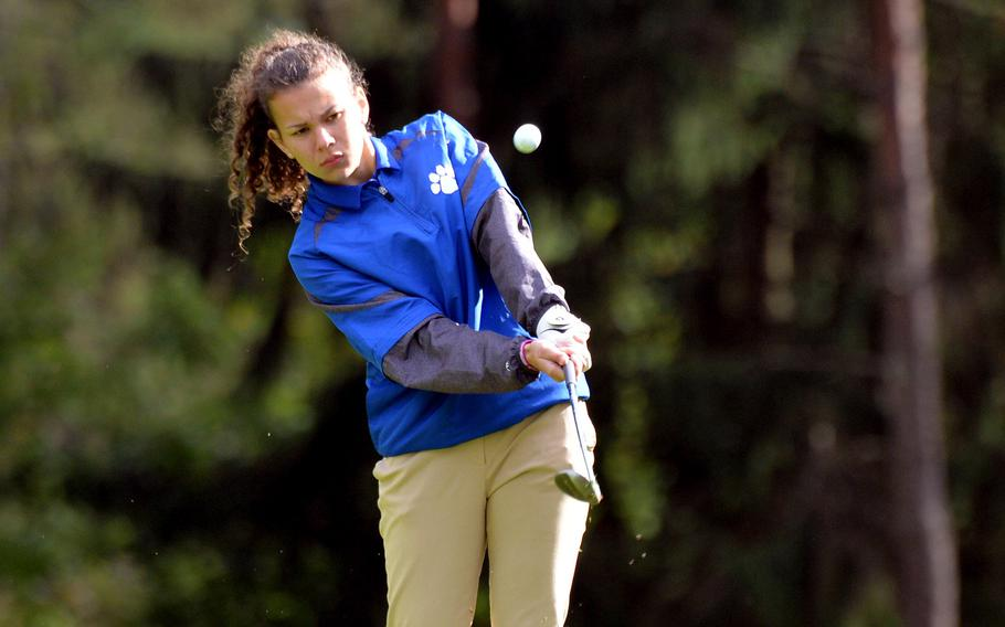 Ramstein's Carleigh Rivera follows her shot in opening day action at the DODEA-Europe golf championships at Rheinblick Golf Course in Wiesbaden, Germany, Wednesday, Oct. 7, 2020.