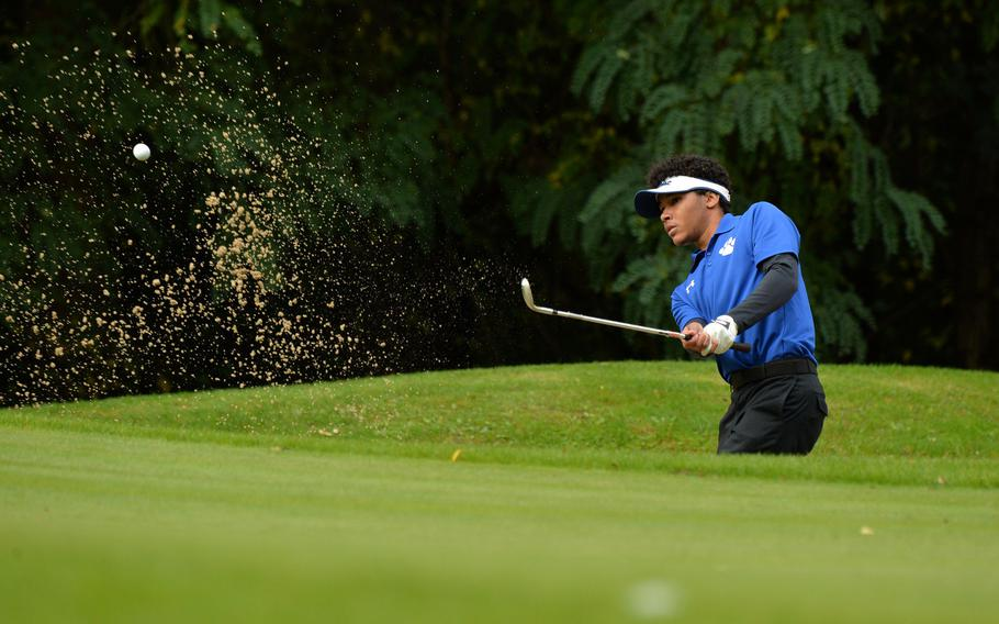 Ramstein's Ben Todman hits out of the bunker in opening day action at the DODEA-Europe golf championships at Rheinblick Golf Course in Wiesbaden, Germany, Wednesday, Oct. 7, 2020.