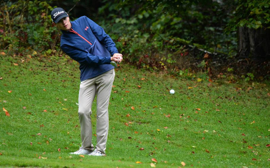 Micah Webb of Ramstein follows his chip on the 18th hole at the DODEA-Europe golf championships at Rheinblick Golf Course in Wiesbaden, Germany, Thursday, Oct. 8, 2020. Webb finished third.