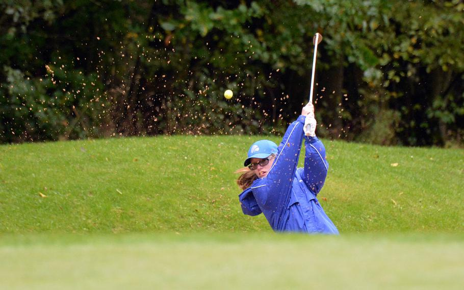Wiesbaden's Alyssa Shewall hits out of the bunker during the final round of the DODEA-Europe golf championships at Rheinblick Golf Course in Wiesbaden, Germany, Thursday, Oct. 8, 2020.