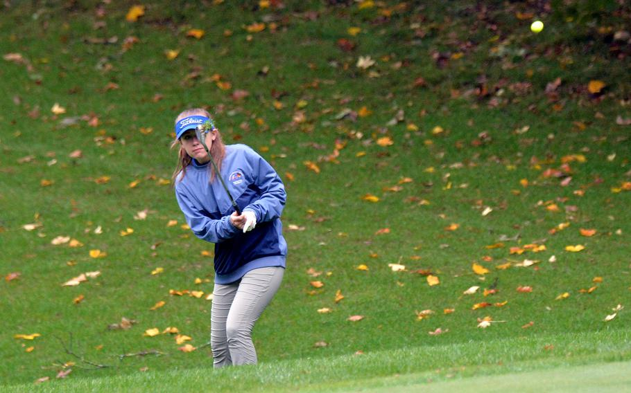 Wiesbaden's Heidi Johnson chips to the green on her way to finishing second in the girls competition at the DODEA-Europe golf championships at Rheinblick Golf Course in Wiesbaden, Germany, Thursday, Oct. 8, 2020.