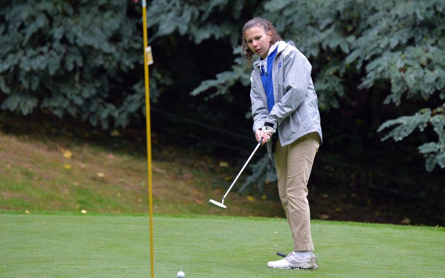 Ramstein's Carleigh Rivera follows her putt on her way to winning the girls title at the DODEA-Europe golf championships at Rheinblick Golf Course in Wiesbaden, Germany, Oct. 8, 2020. She scored 25 modified Stableford points for the win.