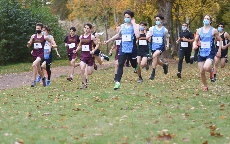 Runners from Baumholder, Spangdahlem and Black Forest Academy competed in the small schools' race at the DODEA-Europe non-virtual cross country championship on Saturday, Oct. 24, 2020.