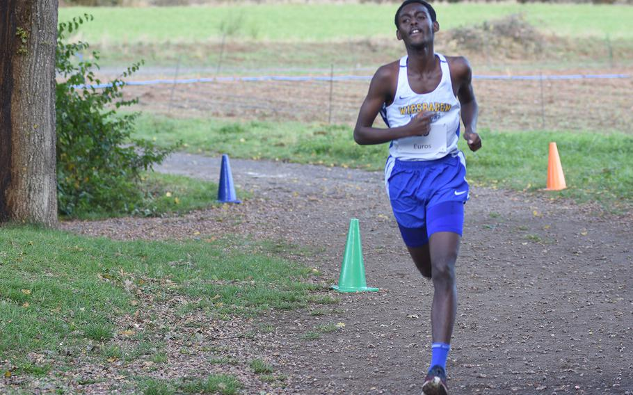 Wiesbaden's Manzi Siibo finished second at the DODEA-Europe non-virtual cross country championship on Saturday, Oct. 24, 2020, at Seewoog Park in Ramstein-Miesenbach, Germany.