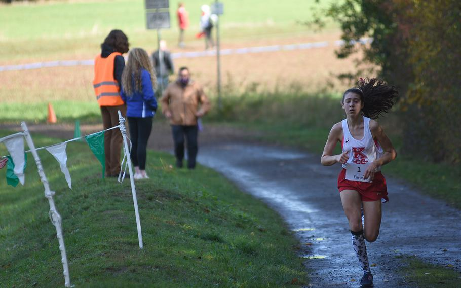 Kaiserslautern's Piper Parsells finished fourth overall at the DODEA-Europe non-virtual cross country championship on Saturday, Oct. 24, 2020, at Seewoog Park in Ramstein-Miesenbach, Germany.