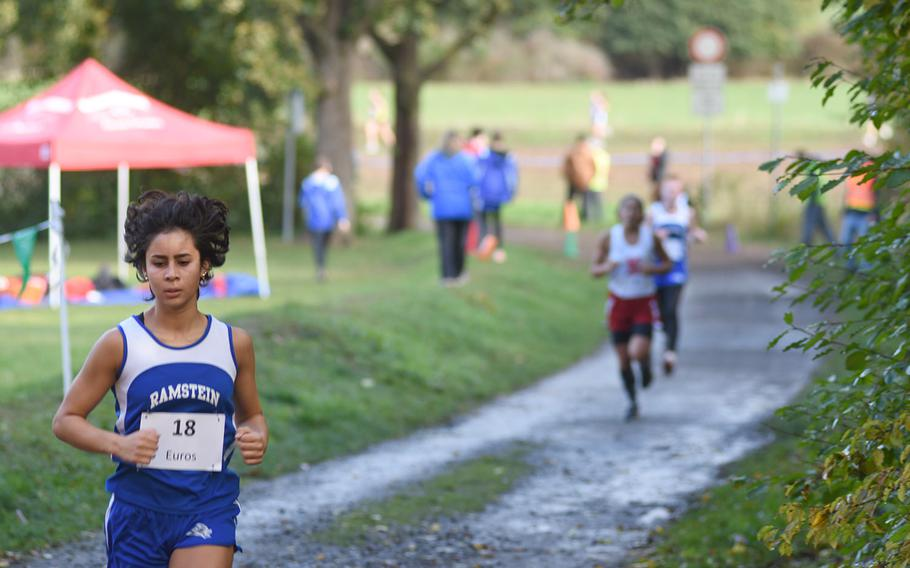 Ramstein's Nadia Rahman competes at the DODEA-Europe non-virtual cross country championship on Saturday, Oct. 24, 2020, at Seewoog Park in Ramstein-Miesenbach, Germany.