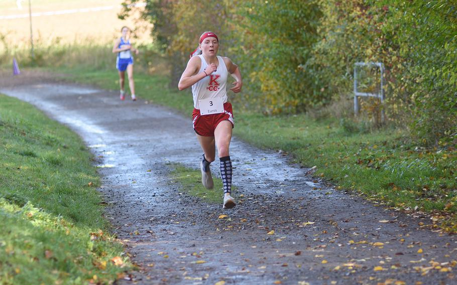 Kaiserslautern's Lena Herrmann finished second at the DODEA-Europe non-virtual cross country championship on Saturday, Oct. 24, 2020, at Seewoog Park in Ramstein-Miesenbach, Germany.