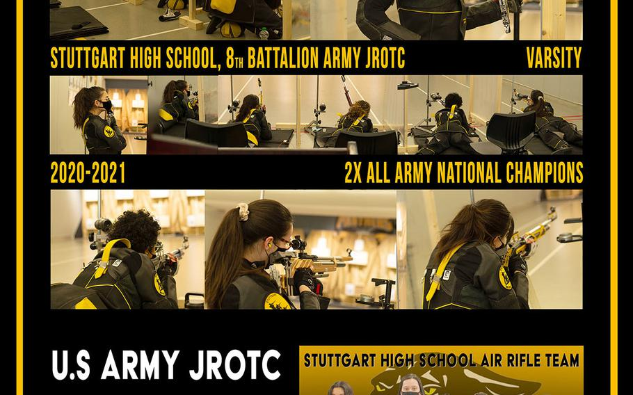 The Sttutgart JROTC program now has a poster illustrating its dominance in marksmanship. The Panthers won another Army JROTC marksmanship title shortly after a season in which they took their eighth straight DODEA-Europe crown.