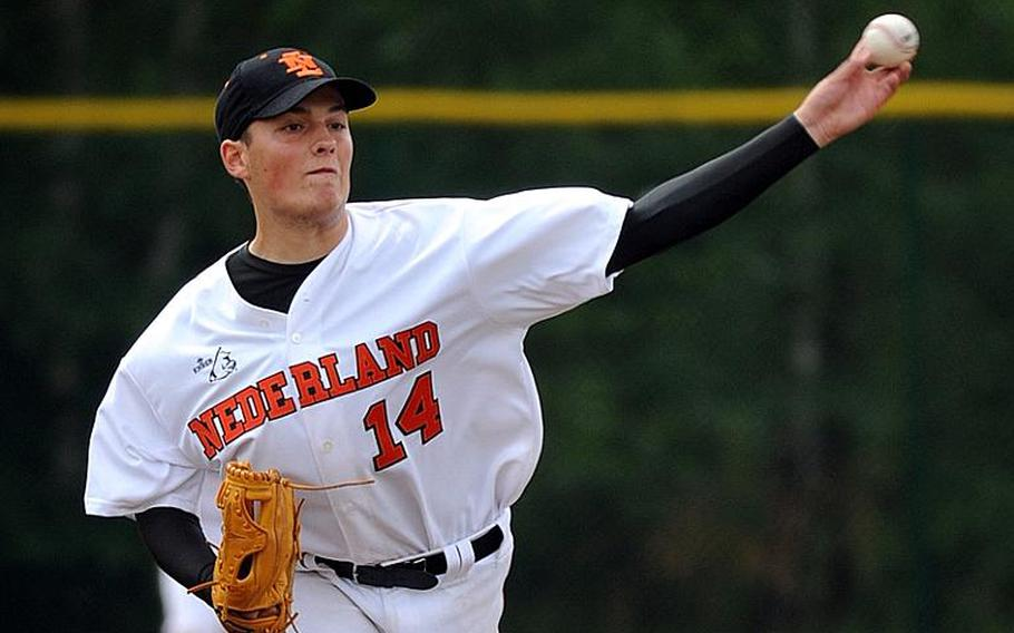 Gys van Els was the winning pitcher for the Netherlands in his team's 12-1 victory over the KMC All-Stars in Ramstein, Germany, on Tuesday. Dutch pitchers kept KMC hitless and advanced to Thursday's championship game. The KMC team, made up of Americans from Germany, will play Moldova on Wednesday for a chance to a rematch with the Dutch. The champion goes to the Big League World Series in Easley, S.C.  Michael Abrams/Stars and Stripes