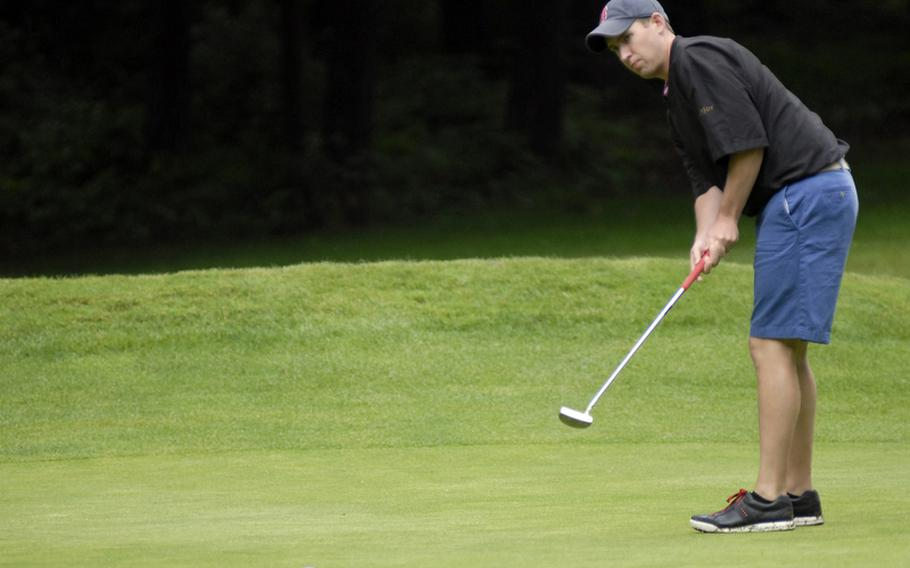 JP Hansen, an Air Force staff sergeant from Ramstein, attempts a putt during the final round of the U.S. Air Forces in Europe golf championships in Ramstein, Germany on Thursday.  Hansen finished second overall in the men's open category.