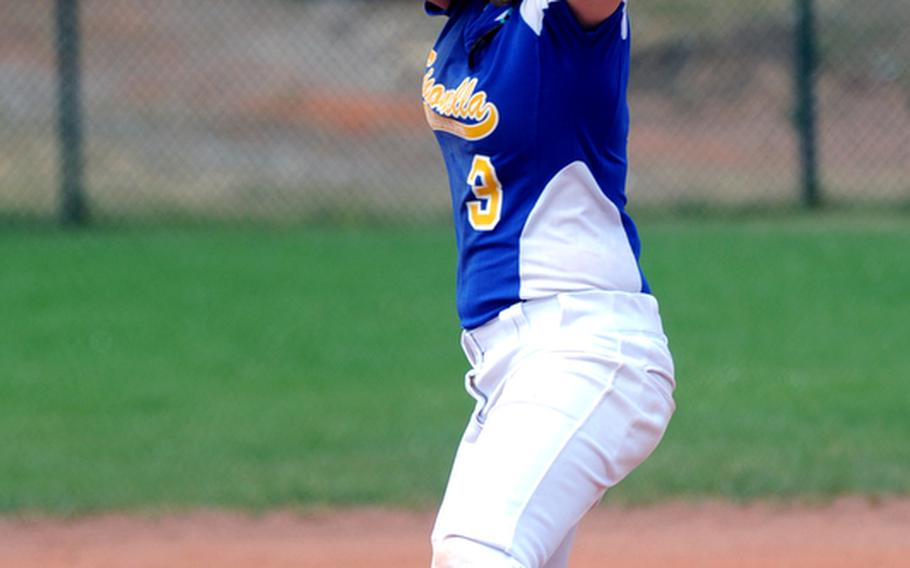 SIgonella's Courtney Albert pitches in the semifinal against Rota at the  DODDS-Europe softball championships in May.  Albert, who was the Division III MVP of the tourney, has been selected to the 2011 All-Europe softball team.