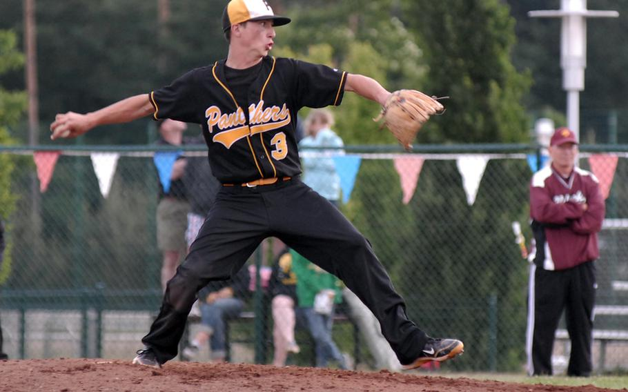 Patch's Justin Quimby throws a pitch in a semifinal against Vilseck at the DODDS-Europe baseball finals in May.  Quimby has been named to the 2011 All-Europe baseball team.