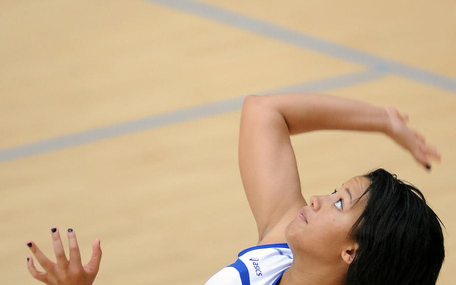 Wiesbaden's LeAmber Thomas serves during a match against Bitburg on Oct. 9, 2010.  Thomas, who recently graduated from Wiesbaden High School, has been named the 2011 DODDS-Europe female athlete of the year.