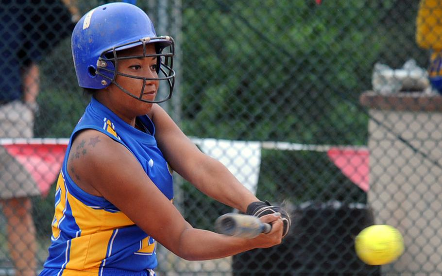 Wiesbaden's LeAmber Thomas connects for a hit at the DODDS-Europe Division I softball tournament in Ramstein in May. Thomas, who recently graduated from Wiesbaden High School, has been named the 2011 DODDS-Europe female athlete of the year.