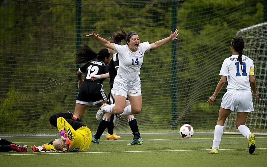 Wiesbaden's Carolina Golden celebrates after scoring a goal during the DODEA-Europe soccer tournament in Reichenbach, Germany, on Thursday, May 18, 2017. Wiesbaden won the Division I match against Vicenza 4-0 and advances to the semifinals.  MICHAEL B. KELLER/STARS AND STRIPES