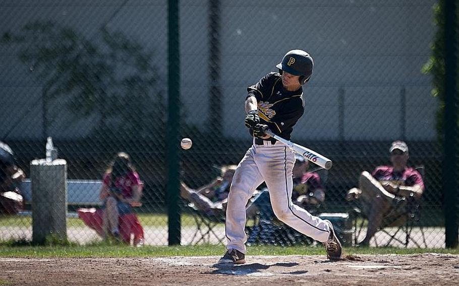 Stuttgart's Eli Lashley hits the ball during the DODEA-Europe baseball tournament at Ramstein Air Base, Germany, on Friday, May 26, 2017. Stuttgart won the Division I game against Vilseck 9-0 and advances to the semifinals.  MICHAEL B. KELLER/STARS AND STRIPES