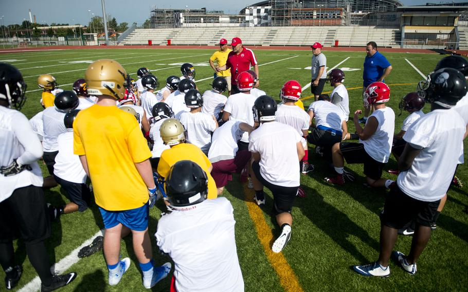 Lin Hairstone, Kaiserslautern High School's head football coach, speaks during the annual European Football Camp at Vogelweh, Germany, on Tuesday, Aug. 15, 2017. Some 200 DODEA-Europe and local national football players attended the four-day camp.