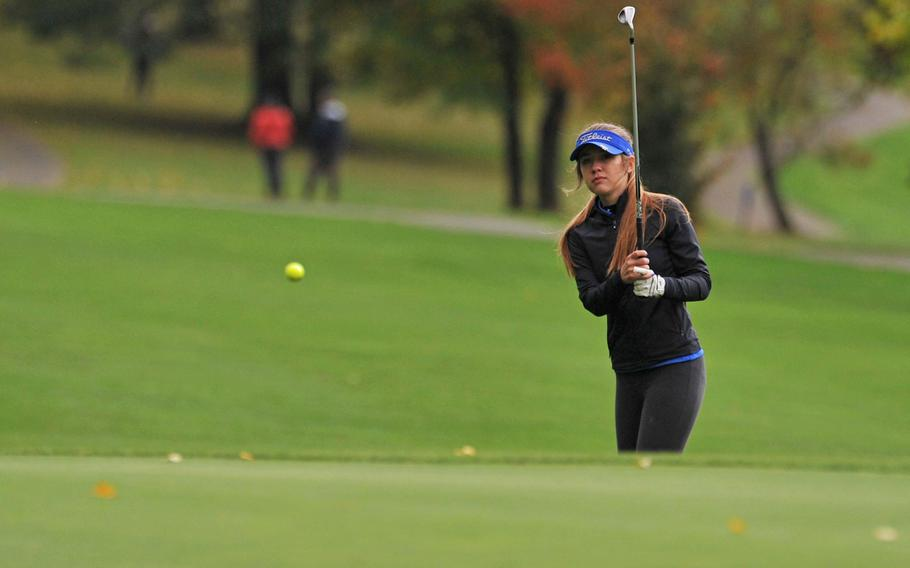 Heidi Johnson of Wiesbaden chips to the green during last year's DODEA-Europe golf championships in Wiesbaden, Germany. She's the only top five girls competitor returning to the finals this year.