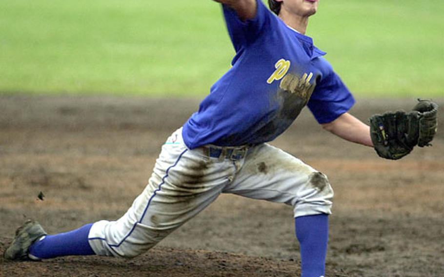 Senior Nathan Haney delivers during the first inning of Saturday's Kanto Plain Association of Secondary Schools invitational baseball tournament at Rambler Field, Camp Zama, Japan.