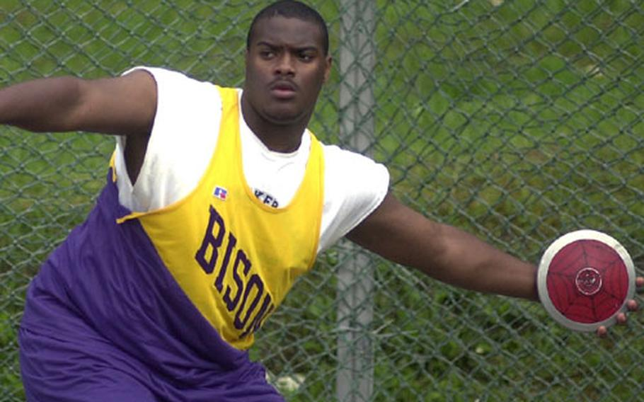 Mannheim's Melvin Jackson prepares to toss the discus during the DODDS Division I Track and Field Championships in Wiesbaden, Germany, on Saturday.