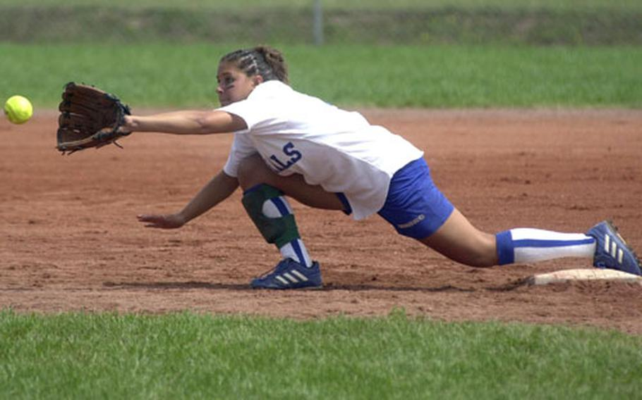 Rota's Jessie Bray stretches for the ball to make a play at second base during the DODDS Division III high school softball championships in Landstuhl, Germany, on Saturday.