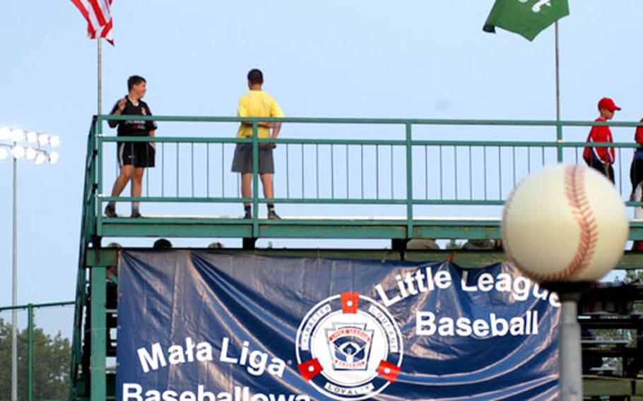 A banner bears the Little League logo with words in Polish and English at the Edward J. Piszeck Stadium, were the Little League finals are played.