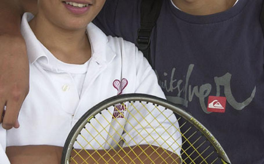 Brothers Mitchell and Matthew Bierschenk, first-year players for the Matthew C. Perry Samurai, are one of six pairs of Department of Defense Dependents Schools-Pacific siblings playing in the Far East High School Tennis Tournament.