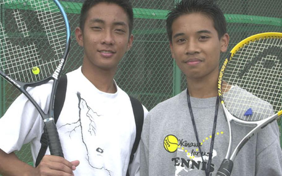 Brothers Lucky and Darren Montano, second-year players for the Zama American Trojans, are one of six pairs of Department of Defense Dependents Schools-Pacific siblings playing in the Far East High School Tennis Tournament.