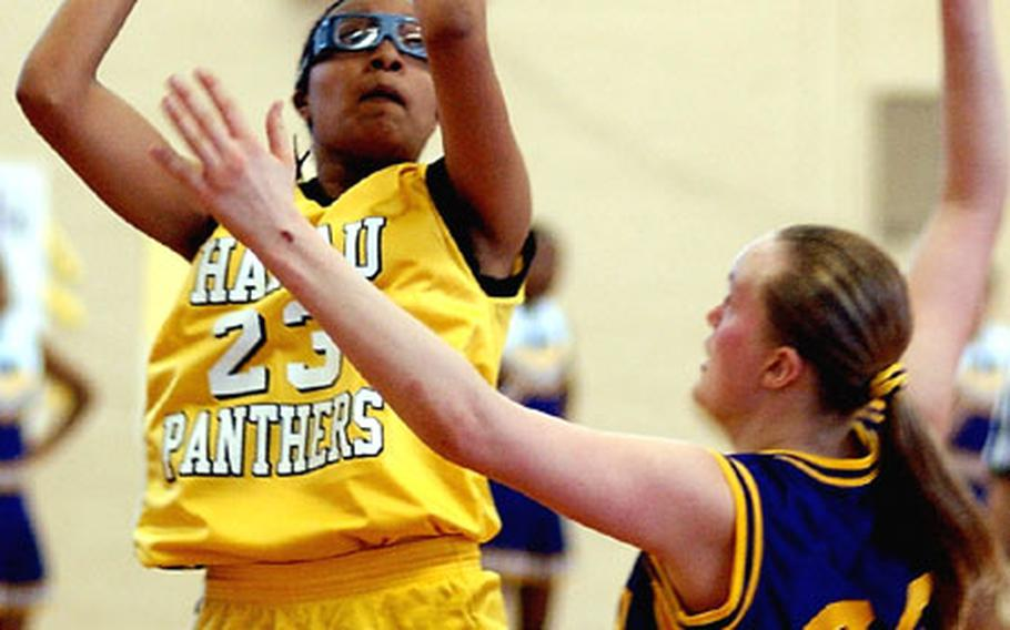 Junior Katisha Fauntleroy, left, hopes to lead the Hanau Panthers to a Division II championship this season and erase the memory of a 45-41 loss to Bitburg in last season's title game.