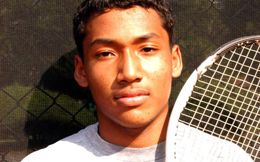 Pusan American Panthers senior James Edwards, defending Far East High School Tennis Tournament boys singles and mixed doubles champion.
