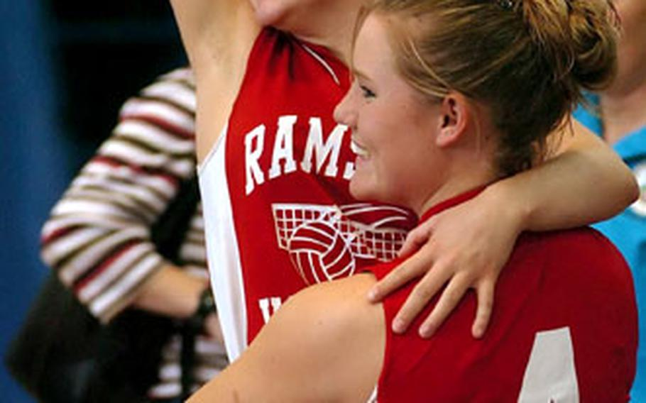 Ramstein players celebrate their victory over Frankfurt International School.